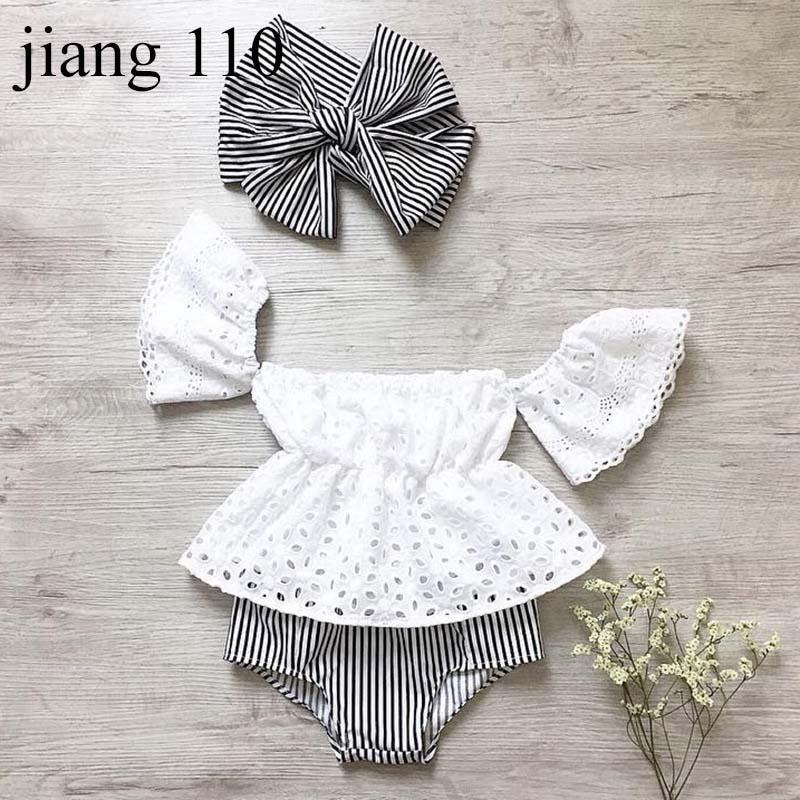 Baby Girls Outfits Summer Infant Hollow Out Flare Sleeve Top Designer Toddler Striped Shorts With Headband Boutique Children Clothing Sets