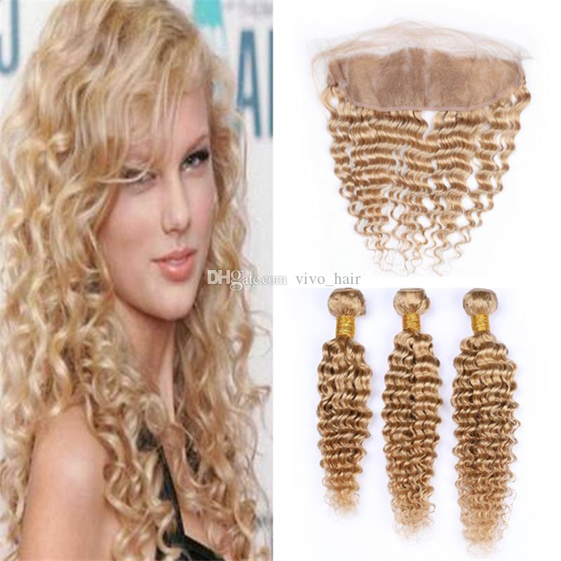 Deep Wave Curly Honey Blonde Human Hair Frontal Lace Closure with Bundles #27 Light Brown Virgin Brazilian Hair Weaves with Frontals