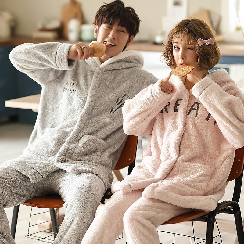 Pigiama autunno inverno caldo flanella spessa pigiama con cappuccio in pile corallo set pigiama da donna coppia pigiama uomo pigiameria 3XL abbigliamento per la casa SH190916