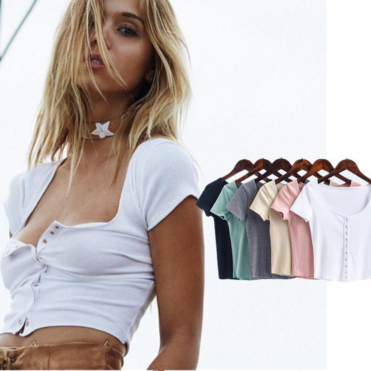 Summer T-shirts Women Tops Rib Knitted Cotton Deep Neck Short Sleeve T Shirts Ladies Sexy Crop Tops Single Buttons Tops Tees