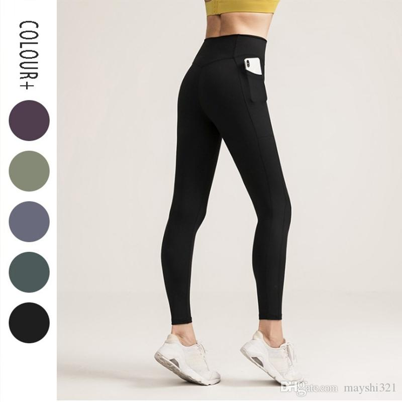 Mulheres da aptidão Leggings Yoga Pants sólido Workout colorida Esportes Ginásio Roupa de cintura alta Push Up Pants Elastic Lady Sexy calças justas
