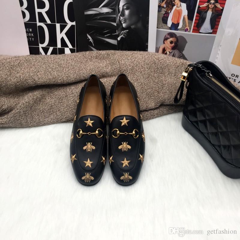 Brand New femmes des hommes en cuir brodé Mors Mocassins noir blanc avec Mulets appartements star abeille chaussures causales style luxe grande taille EUR34-45