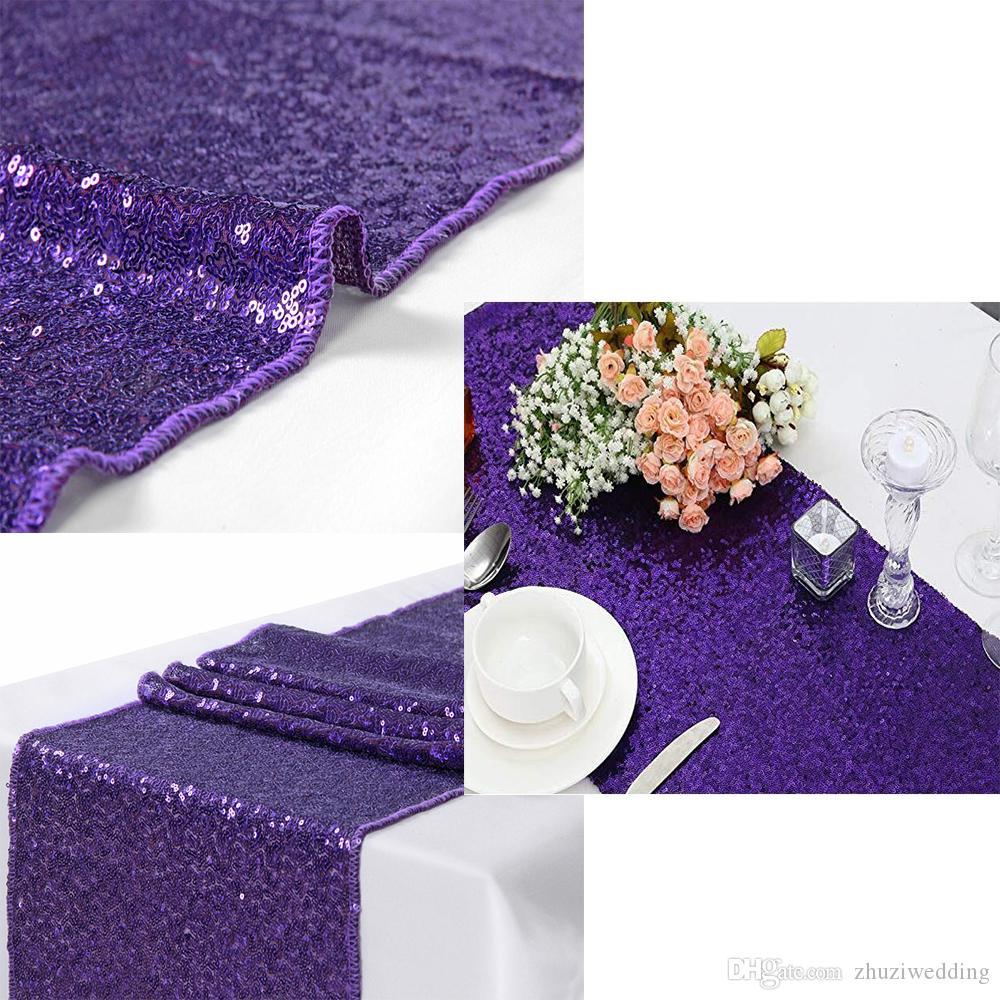 Acheter Violet 12x72 Pouces Chemin De Table Paillettes Coureur De