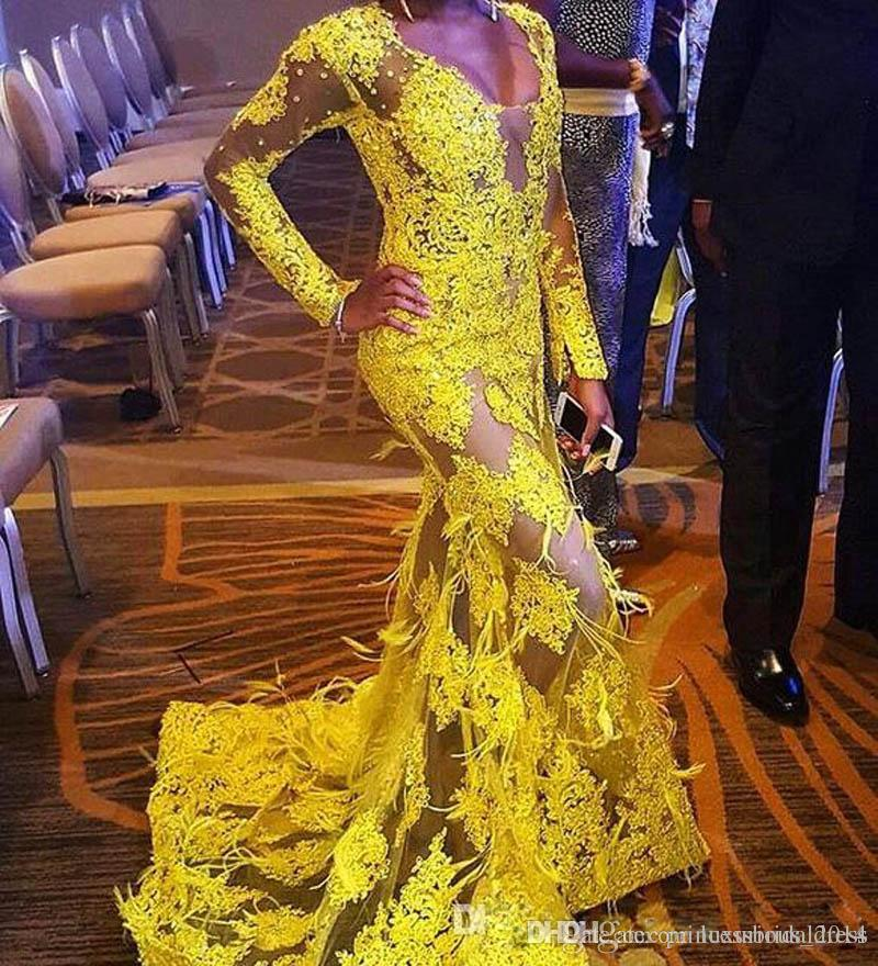 ZYLLGF Sexy See Through Lace Evening Dresses Mermaid Deep V Neck African Beaded Plus Size Yellow Prom Gowns Long Sleeves With Feathers