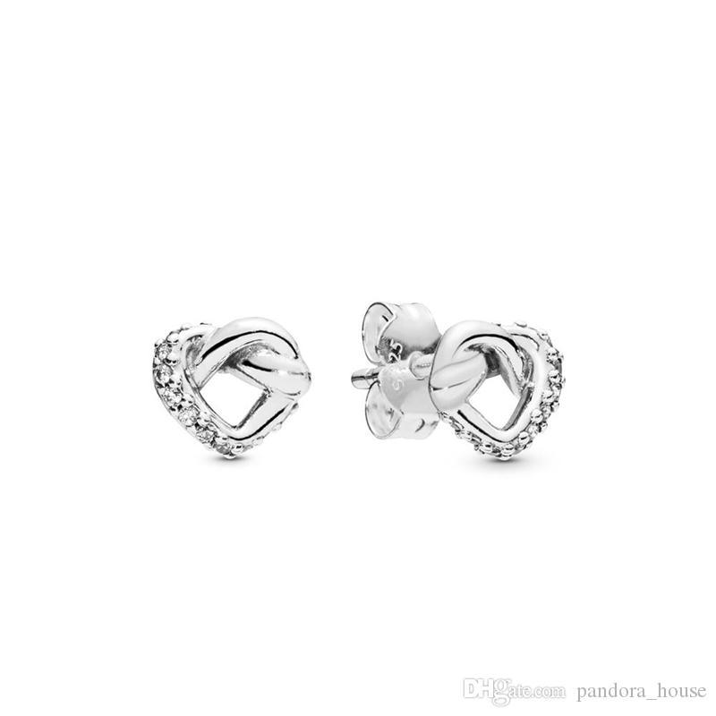 2019 authentique véritable 925 sterling argent cœurs cœurs pandora boucles d'oreilles 298019Cz bijoux de bricolage