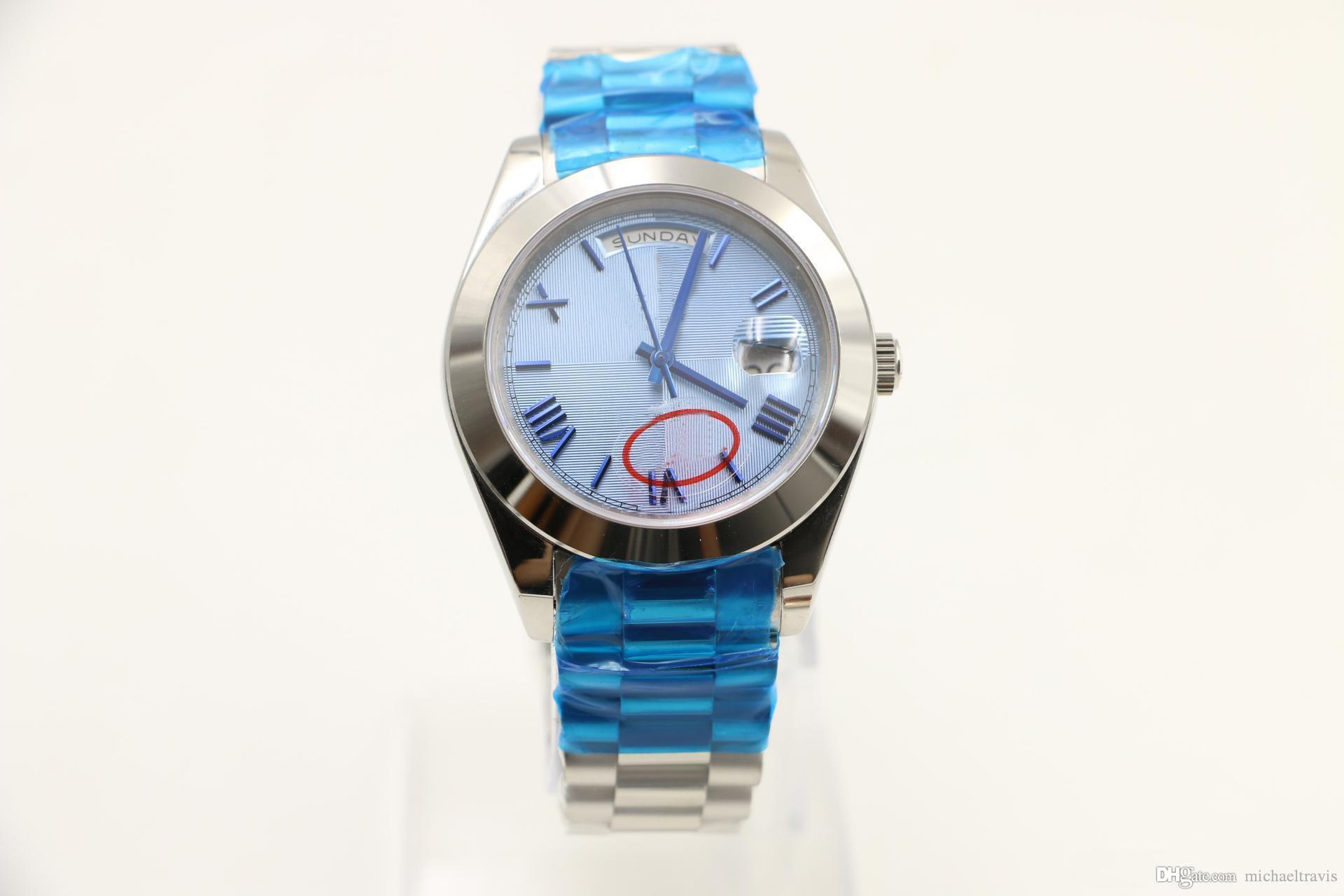 40MM Classical Mens automatic Watch Watches day date display round blue striped dial president strap stainless watch case