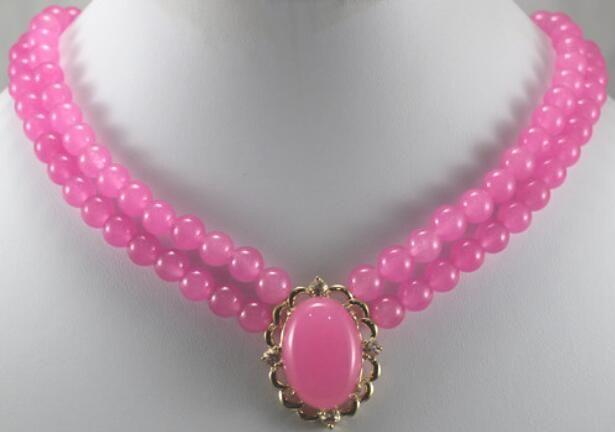 Jewelryr Perlen-Halskettengroßverkauf 2rows rosafarbene natürliche Steinkornhalskette mit 13 * 16mm hängender Halskette Freies Verschiffen