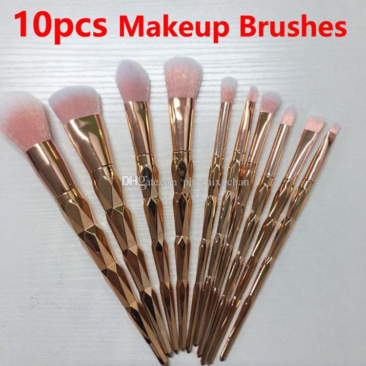 Cepillo del maquillaje 10pcs se ruboriza polvo profesional determinado del maquillaje de cejas cepillo de sombra de ojos del labio de la nariz de oro rosa de fusión fabricar herramientas de cepillo cosmético