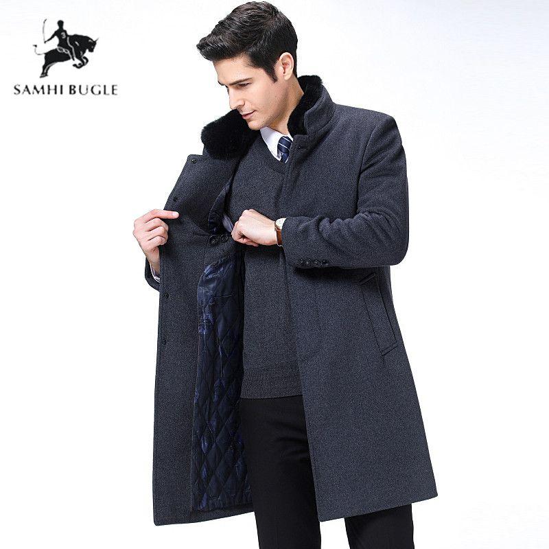 Coat Outwear Peacoat Men Single-Breasted Winter Warm Wool Trench Jacket Overcoat