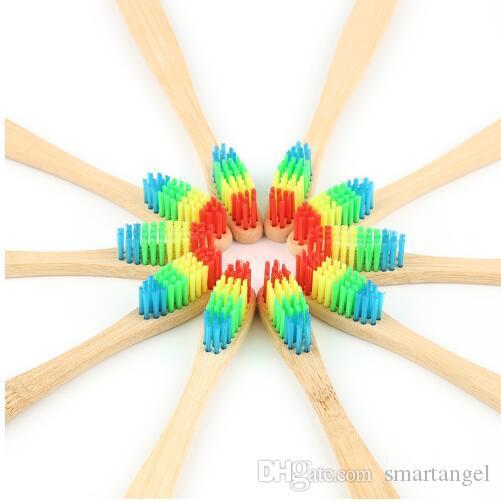 Protection de l'environnement Soft Rainbow Color soies bambou manche en bois brosse à dents brosse de nettoyage outil