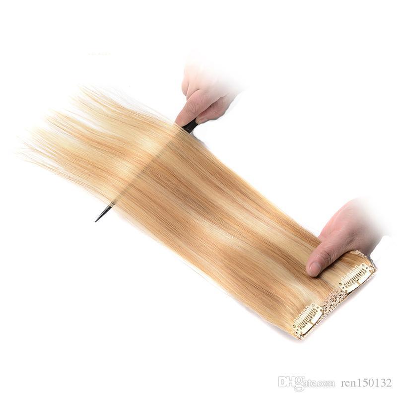 """14 """"16"""" 18 """"20"""" 22 """"24"""" 100% Real Remy Clipe Em Extensões Do Cabelo Humano piano Cor 27/613 # cabeça cheia 8 pçs / set extensões de cabelo grampo"""