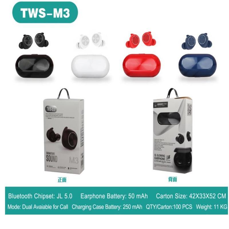 TWS فاخر مصمم سماعة M3 لاسلكي سماعات بلوتوث BT 5.0 MINI سماعات الأذن ستيريو باس لتفاح مع حزمة البيع بالتجزئة