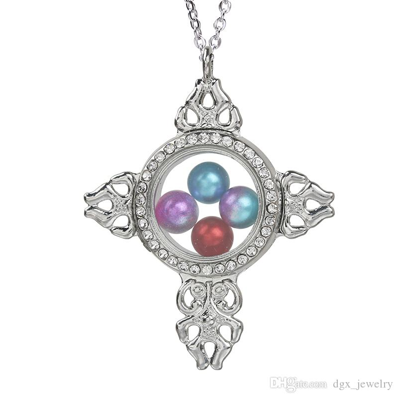 Magnetic Open Glass Cross Locket Pearl Cage Pendant Beads Cage Charms Living Memory Women Floating Charms With Stainless Steel Chain