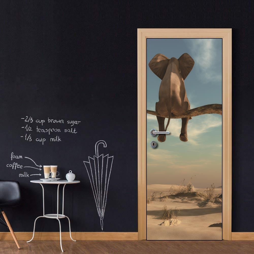 DIY Door Sticker Elephant Sitting On Tree Cartoon Wall Sticker Decal Art Decor Vinyl Door Poster Removable Mural Door Wallpaper