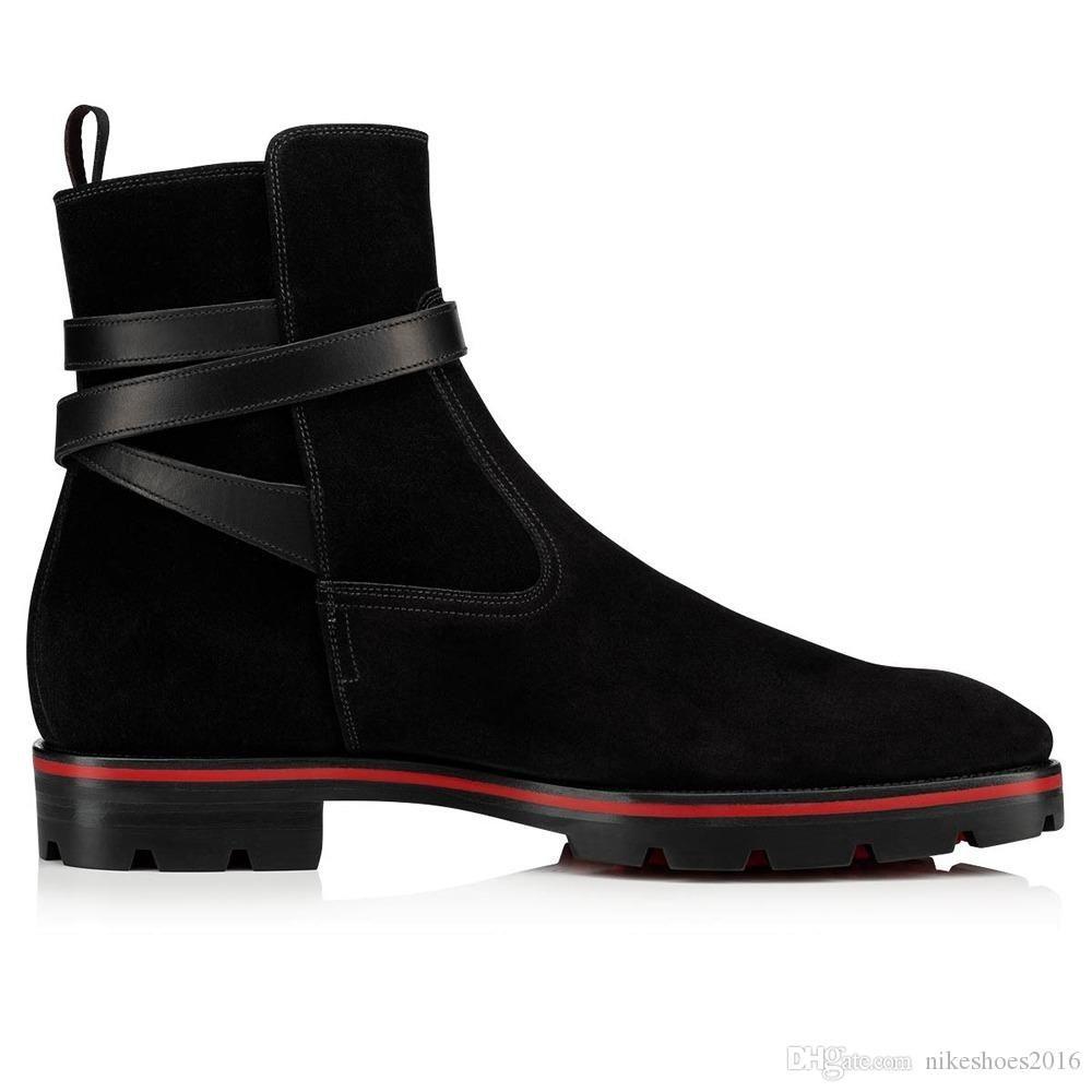패션 고급스러운 남성 신발 남성 신발 발목 부츠 Kicko 스타일 블랙 스웨이드 송아지 가죽 우아한 남성의 낮은 힐 부티를 들어 바닥 부츠 RED