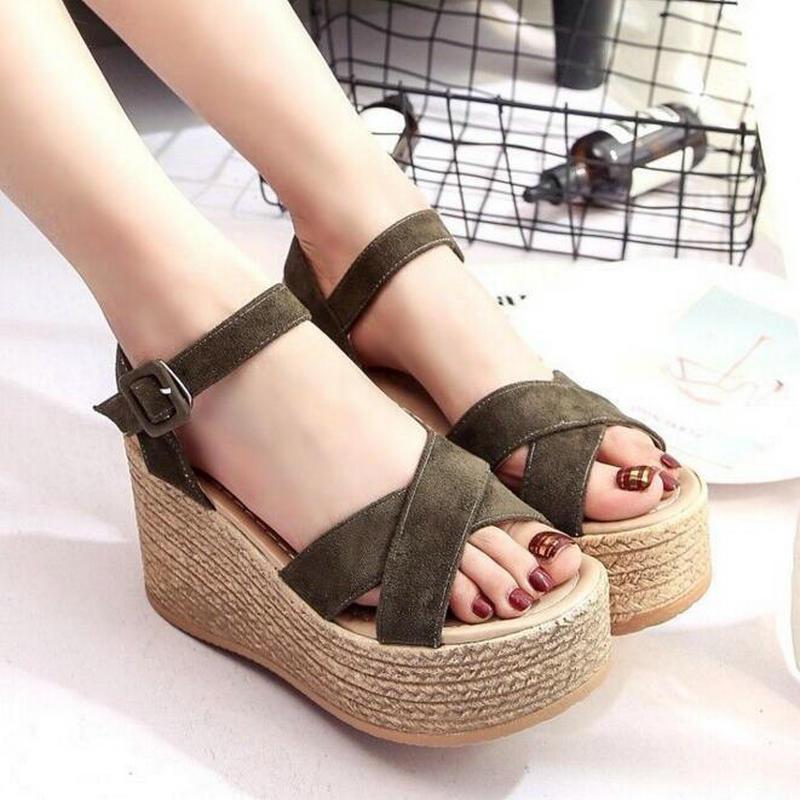 Sandali delle donne estive Velvet Flock Mouth Fashion Piattaforma a tacco alto Open Toes Shoes Drop Shipping