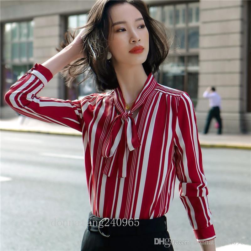 BS919 mode marque nouvelle dame de bureau style coréen HAUTE QUALITÉ chemisier noeud de cravate corde chemises pour dames