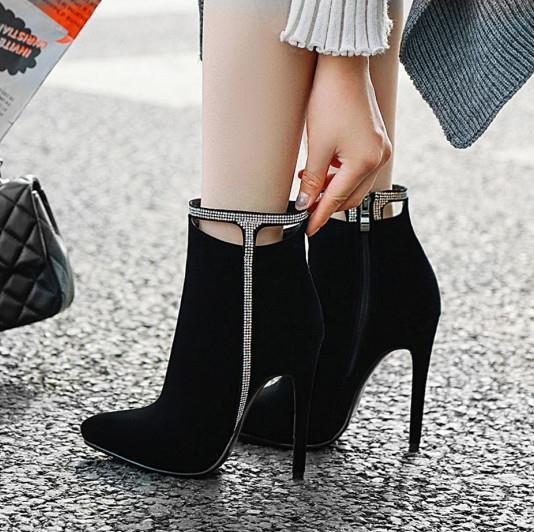 taille 33 à 42 43 avec la boîte sexy talons cheville strass en creux bottillons design haut rouge bottes de fond femmes concepteur de luxe bottes