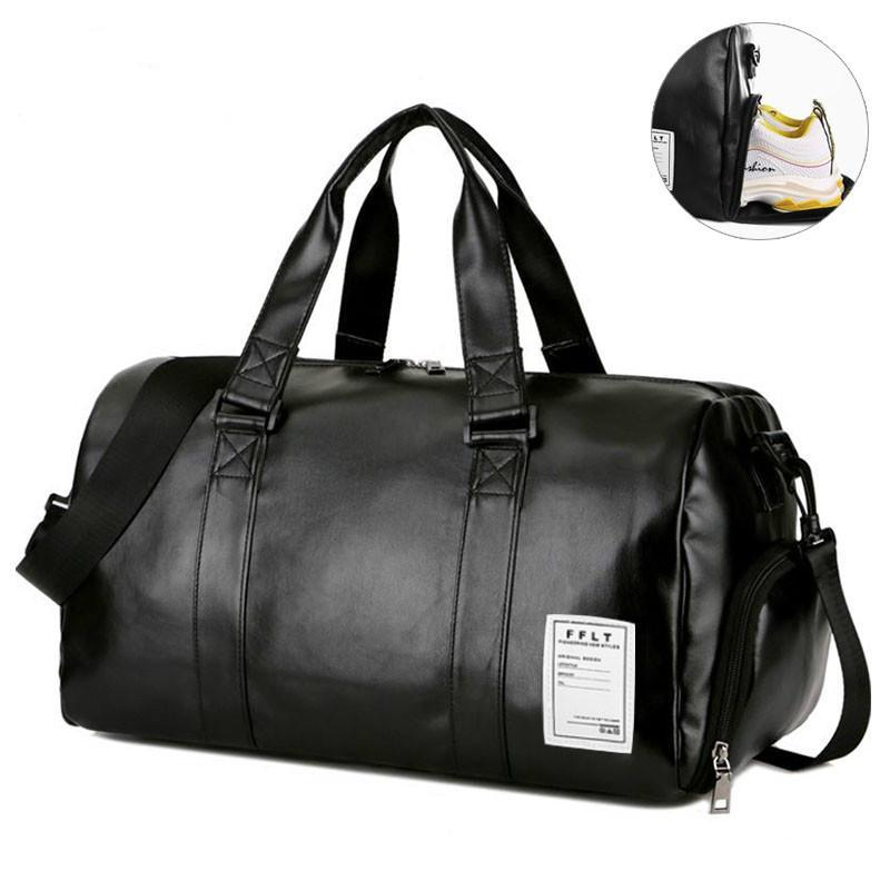 Gym Bag Borse sportivo in pelle Big MenTraining Tas per Scarpe Lady Fitness Yoga bagagli di corsa spalla nero Sac De Sport