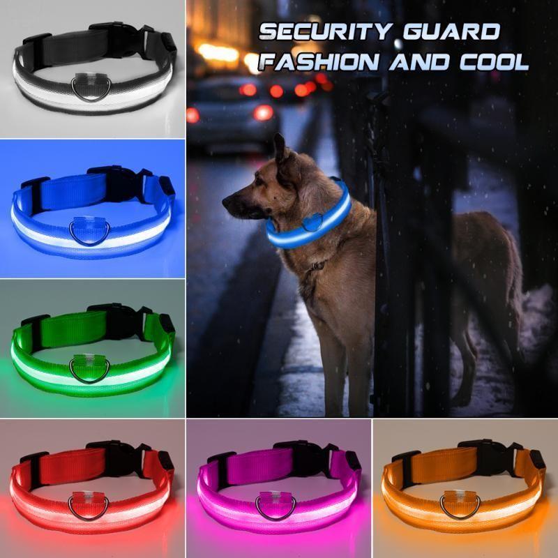 Neue Art und Weise LED Nylon Hundehalsband Hundekatzengeschirr Blitz leuchten Nacht Sicherheit Haustier-Krägen multi Farbe XS-XL Größe Weihnachten Zubehör