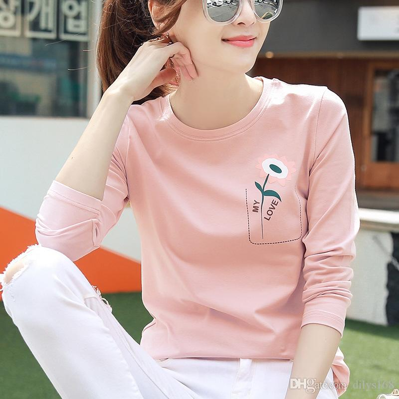 Women Designer Clothes plus size women clothing Top Spring new Long sleeves T-shirt Girl student Leisure time Wild Joker womens t shirts