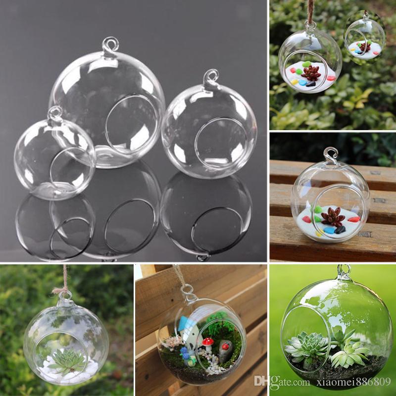 3 حجم واضح المزهريات الزجاجية الكرة زهرة شنقا شفافة زهرية الغراس تررم الحاويات الزجاج ديكور المنزل