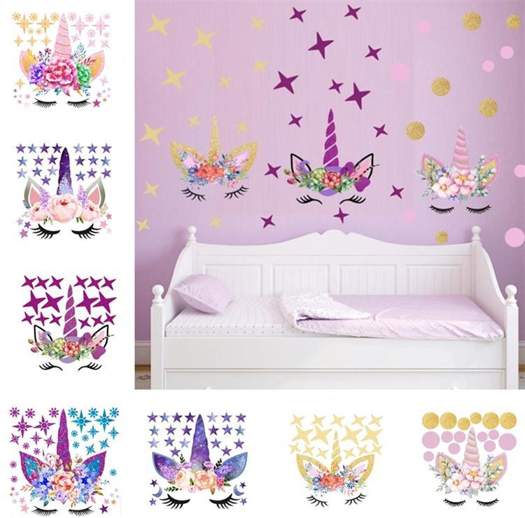 Three DIY Unicorn Stickers Cartoon Star Wall Stickers Star Flower Wall  Sticker Children\'S Bedroom Wall Sticker T6I6002 Wall Decals Cheap Wall  Decals ...