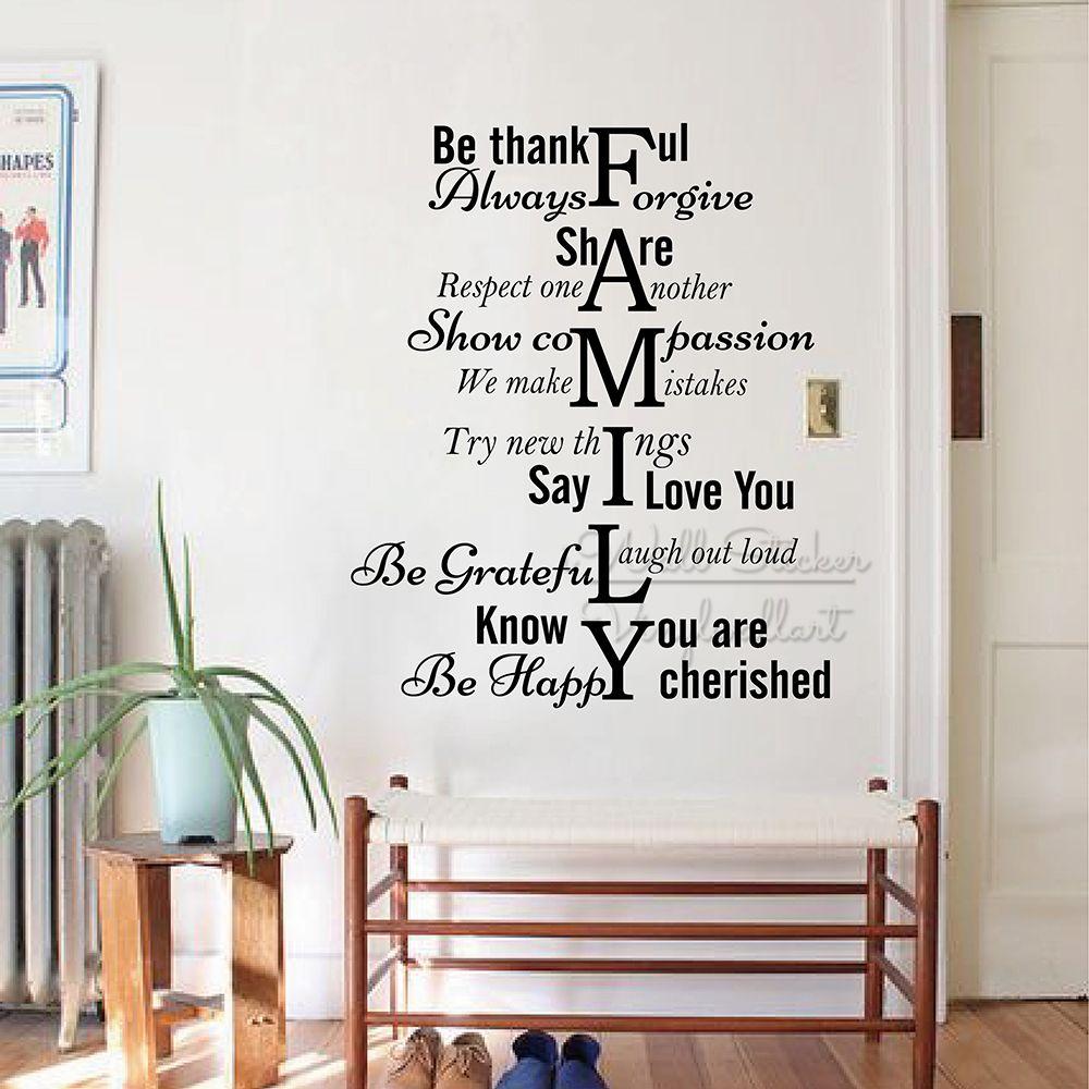 Acheter Règles De Famille Citation Wall Sticker Famille Mur Lettrage Decal Amovible Salon Accueil Citation Lettrage Mur Décor Cut Vinyl Q314 De 14 07