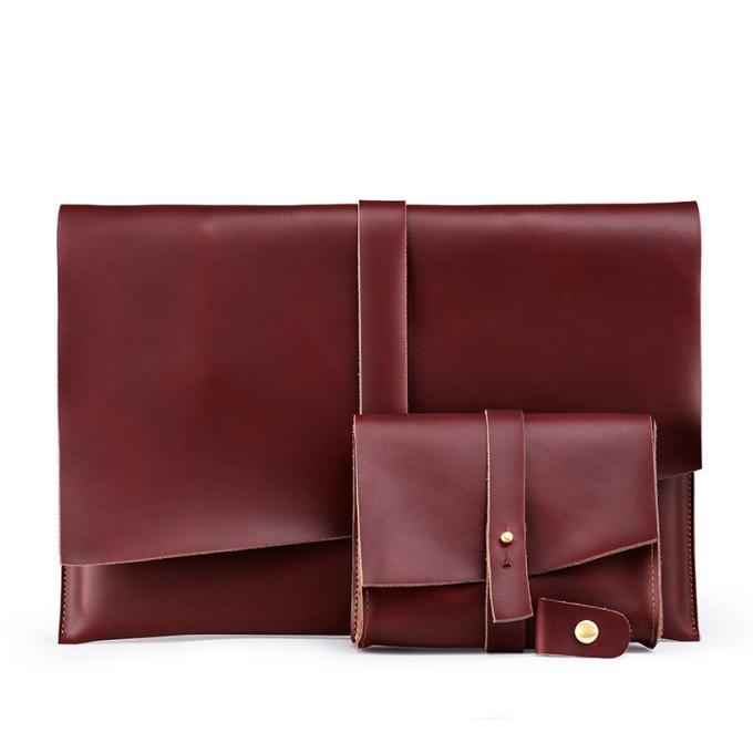 عام 2019 حقيبة جلدية حقيقية جديدة لـ (ماك بوك) حقيبة تخزين دفترية مخصصة لـ (آي بايد)