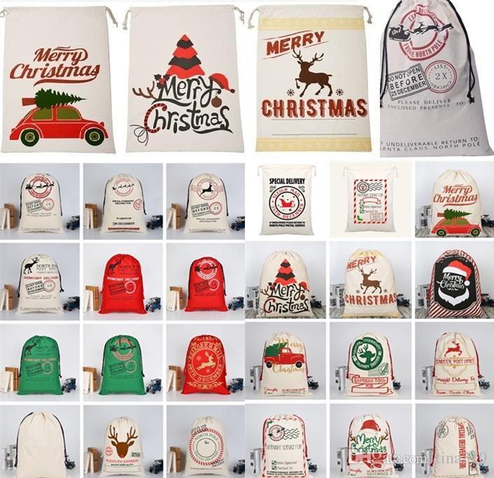 크리스마스 가방 대형 캔버스 단일 산타 클로스 Drawstring 가방과 reindeers 크리스마스 선물 자루 스토리지 bagchristmas 장식