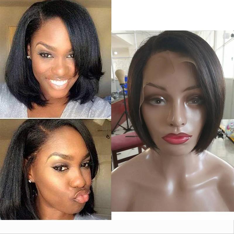 Breve recta del frente del cordón del cabello humano pelucas baratas Pixie Cut pelucas con estilo de corte de pelo africano del bebé brasileño del pelo de las señoras de las pelucas para mujeres Negro