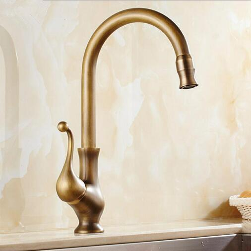 Antique Brass Finish Kitchen Faucet Bronze Single Handle Hot and Cold Water Sink Tap 360 Swivel Bathroom Sink Mixer Taps