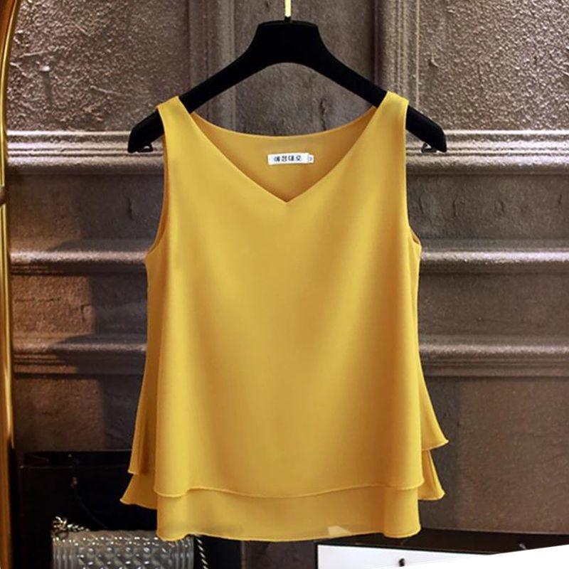 المرأة البلوزات قمصان بلوزة الصيف أكمام الشيفون الأزياء قميص الصلبة الخامس الرقبة عارضة زائد الحجم 4xl فضفاض الإناث الأعلى