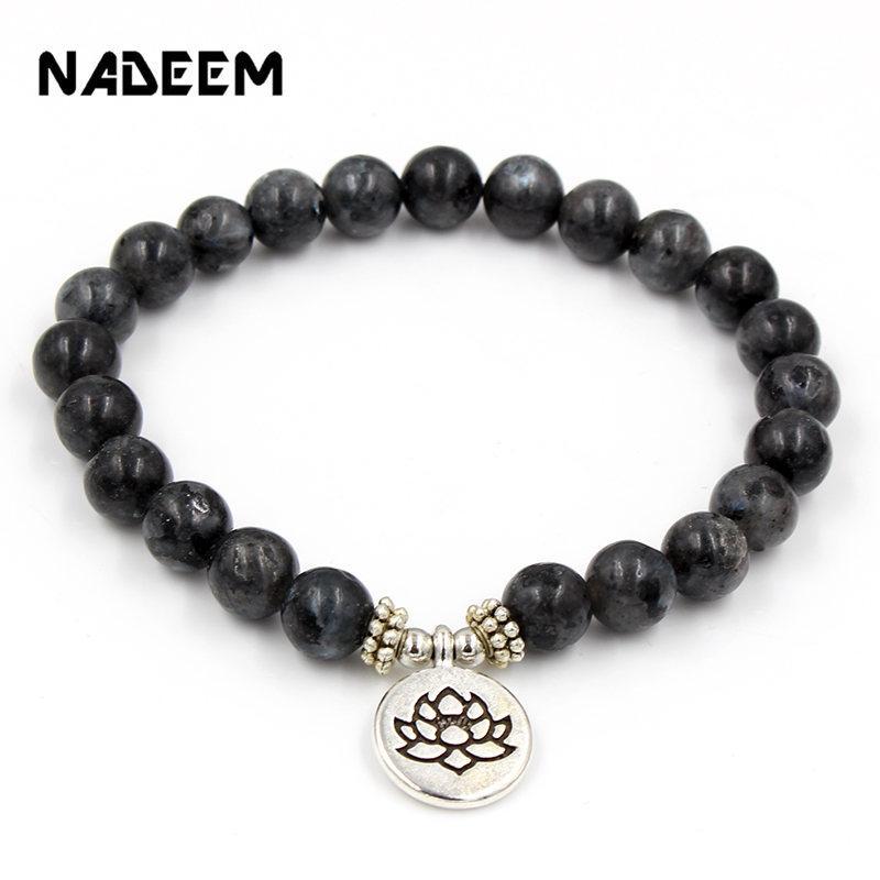 Yeni Mala Boncuk OM Bilezikler Lotus Buda Yoga Charm Bilek Siyah Labradorite Taş Boncuk Bilek Boho Yoga Bilezik Erkekler Kadınlar Takı