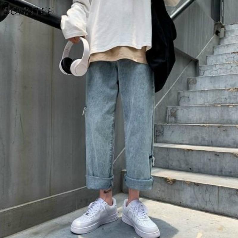 Jeans Männer Solidee Löcher Gerade Art und Weise Retro Ins knöchellangen koreanische Art-Freizeit-Aufmaß Herren-Hosen All-Gleiches Chic Einfachen
