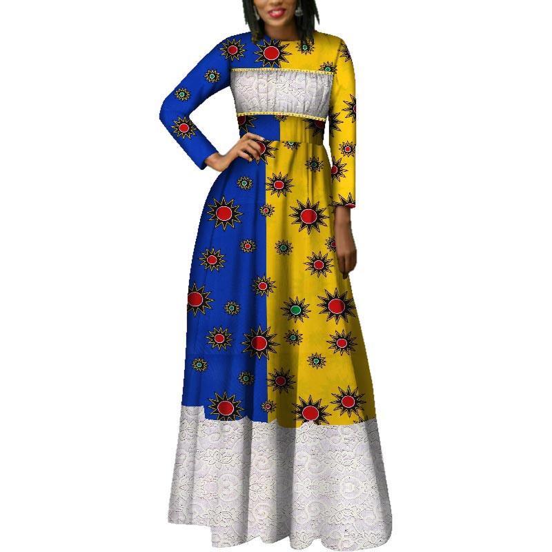 2019 outono nova moda afriac vestidos para as mulheres dashiki lace patchwork tradicional africano clothing party dress wy2014