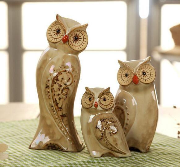 NOOLIM 3 pçs / set Coruja Família Estatuetas Miniaturas Adorável Ornamento Home Decor Criativo Animal Artesanato Home Decor Acessórios Presente