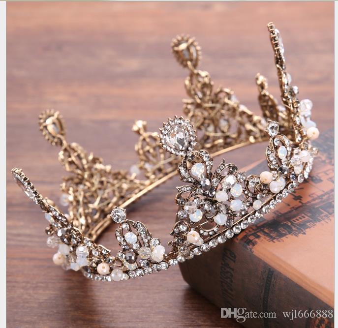Coroa de noiva Acessórios de Vestuário de Casamento Liga de Diamante de Água Coroa de Cabelo Retro Coroa de Jóias de Casamento Coroa