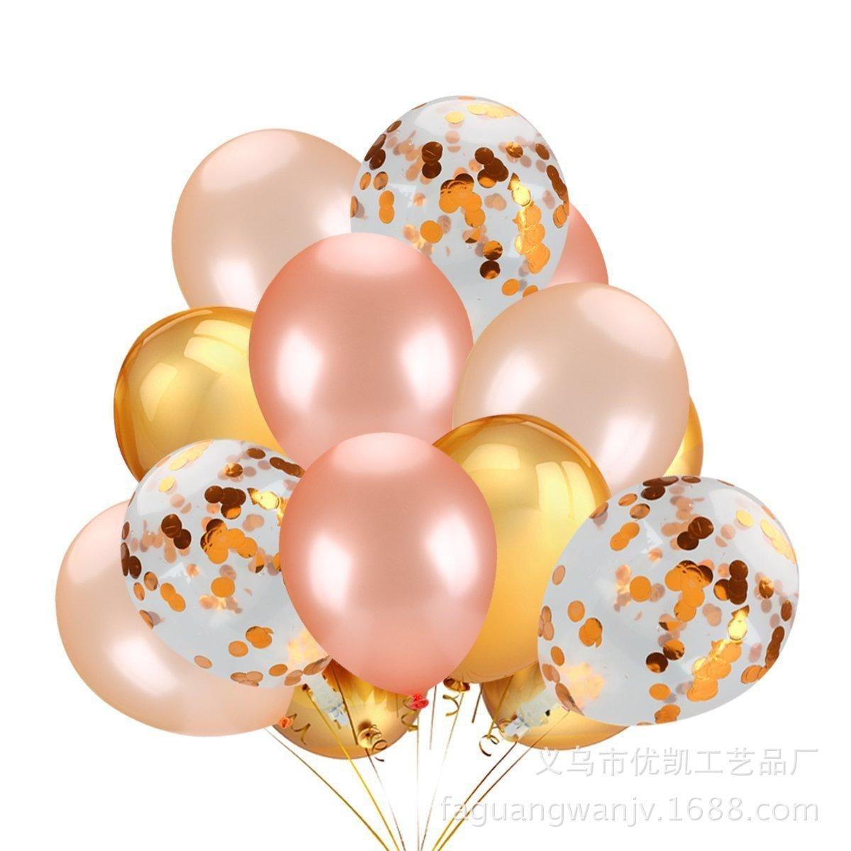 magie transfrontalière transparente à chaud de 12 pouces rose ballon d'or ballon confettis électrostatique magique ballon d'or sequin