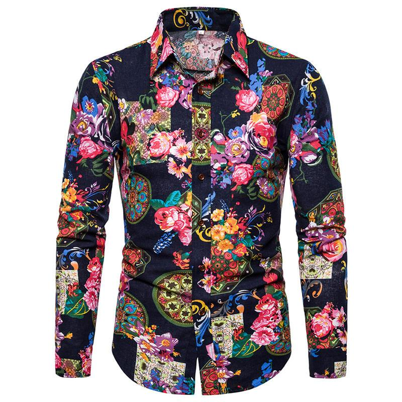 الأزهار المطبوعة مصمم رجالي قمصان بدوره إلى أسفل طوق سترة الرجال بلايز الخريف عارضة الرجال ملابس