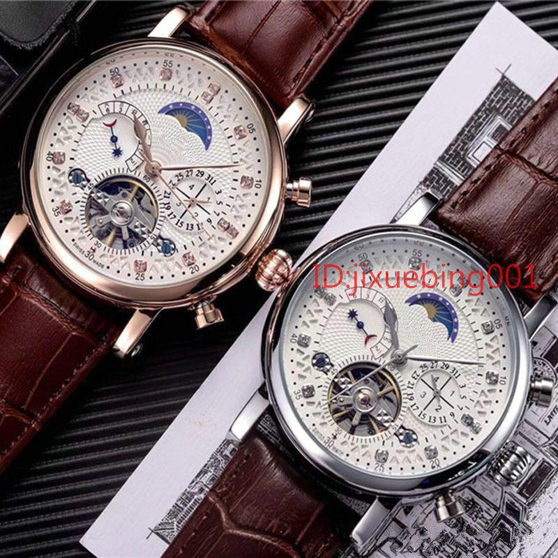 homens moda 18ct assistir data dia de diamantes de discagem turbilhão suíço mecânicos relógios de pulso automáticos homens Aço Relógios Relógio Masculino Relógio