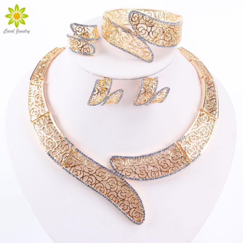 Beads africanos Jóias Set Azul / Jóias Verde / roxo / cristal vermelho colar dos grânulos da cor do ouro Set nigeriano casamento Africano