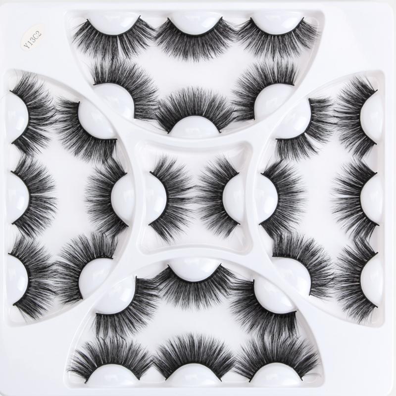 13 pares 3D suave vison pestanas falsas Handmade Fios longo macio Falso maquiagem cílios Natural Lashes Extensão Kit Cílios