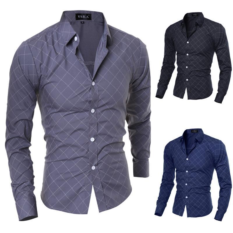 2020 neue Marken-Formal Geometric Plaid Red-Mode-Männer Kleid Shirts Langarm Slim Fit Leger Gesellschaftliche Camisas masculinas M-XXL2