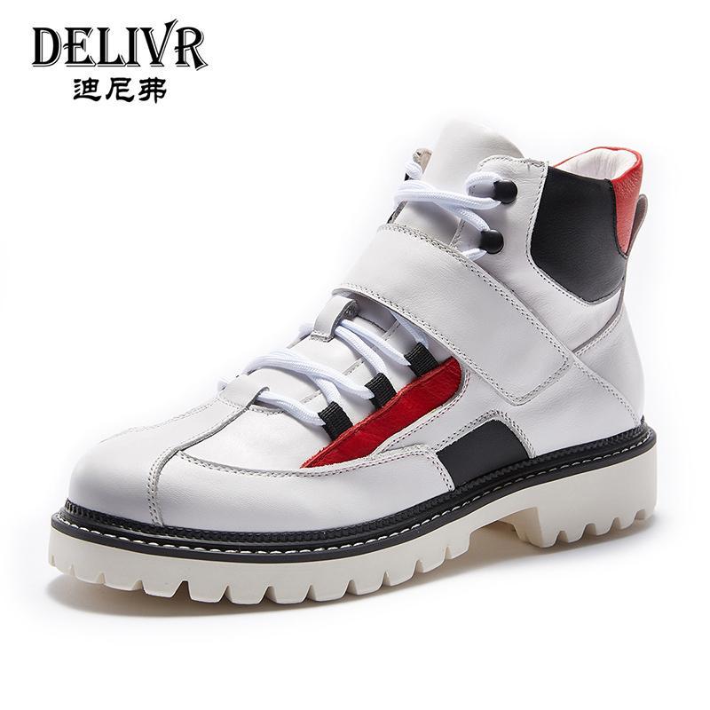Delivr Повседневная обувь Мужчины сапоги 2019 Весна Высокий Топ Мужчины Ботильоны Мода Martins Открытый Мужская обувь Real из натуральной кожи
