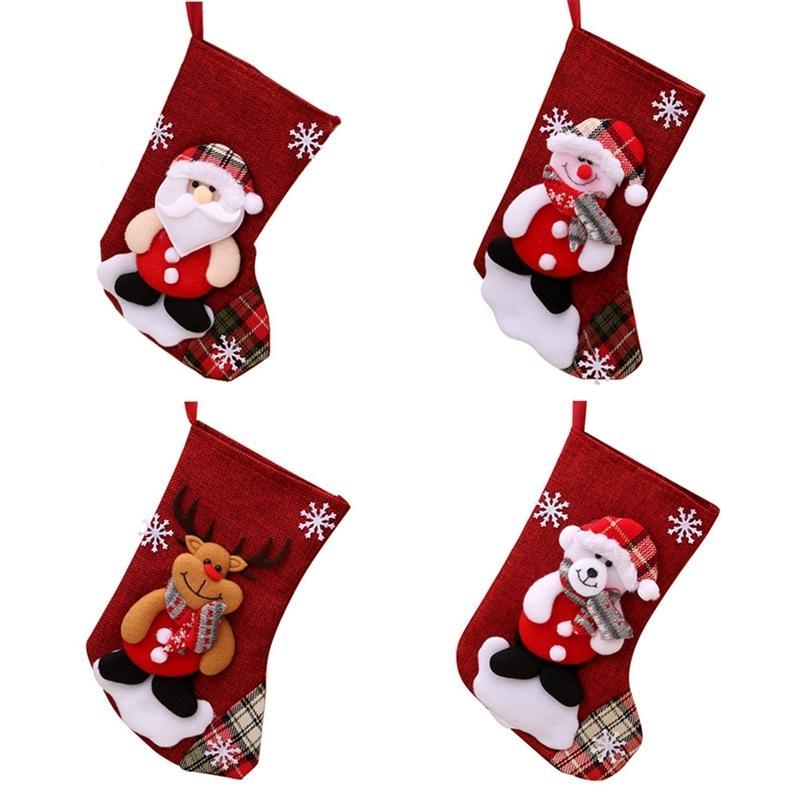 Los titulares de lino medias de Navidad de Santa Claus muñeco de nieve del calcetín caramelo bolsa de regalo de navidad ornamento de navidad Decoración para el hogar