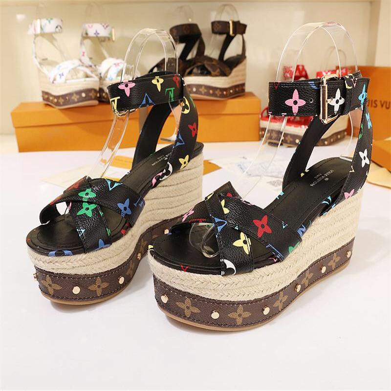 Sandalias con cuña para mujer Tallas grandes Tacones altos, Zapatillas de verano Zapatillas Sandalias de plataforma Femme con Tamaño de caja 35-41