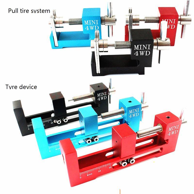 Self-made Tamiya quatre roues roue d'extraction de pneumatique outil d'entraînement en aluminium loader chargeur de roue en alliage chargeur de pliage est très précise