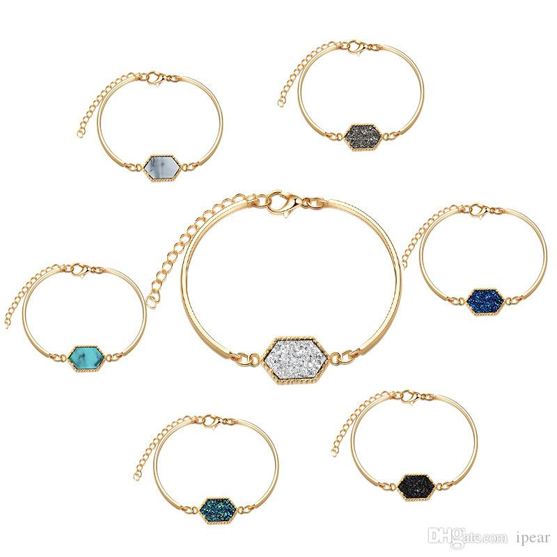 Woman Girls Fashion Hexagon Charms Druzy Gemstone Bracelet Gold Silver Plated Turquoise Lobster Clasp Jewelry Free Shipping