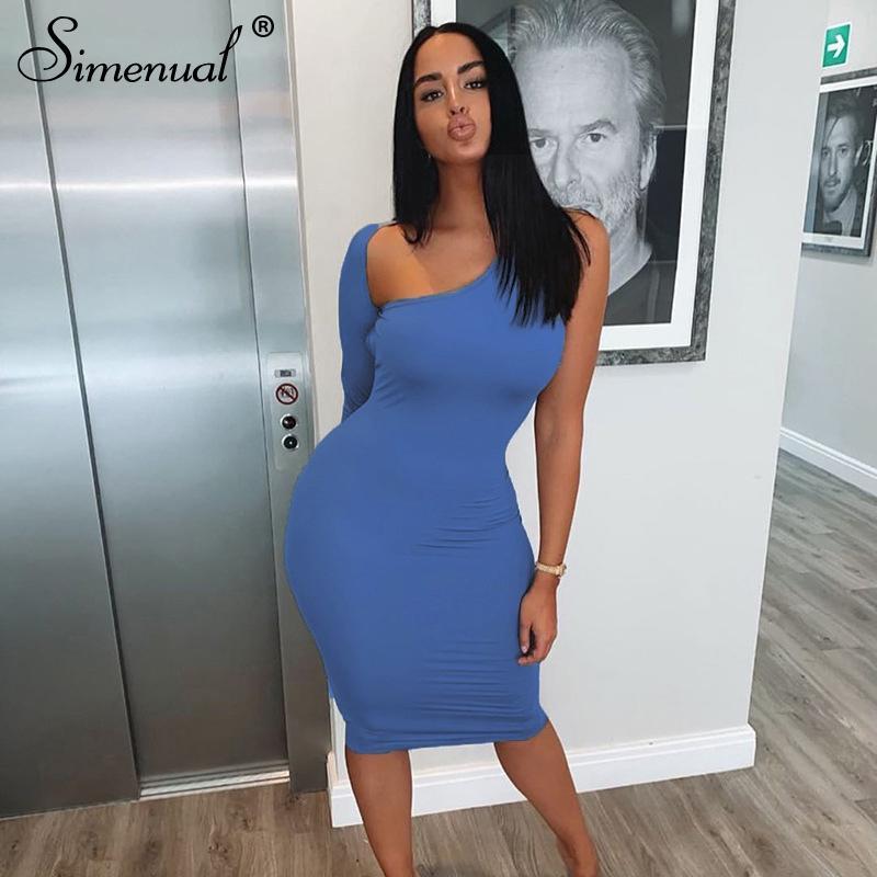 Simenual Classic Blu Blackless Donne Vestito longuette una spalla manica lunga del partito di modo Skinny sexy vestiti aderenti Hot Clubwear